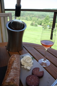After touring the grounds and enjoying the reserve cellar tasting, we decided to forego another winery visit, opting instead to finish our afternoon on Linden Vineyard's scenic porch.  2011 rosé with locally sourced cheese and summer sausage.