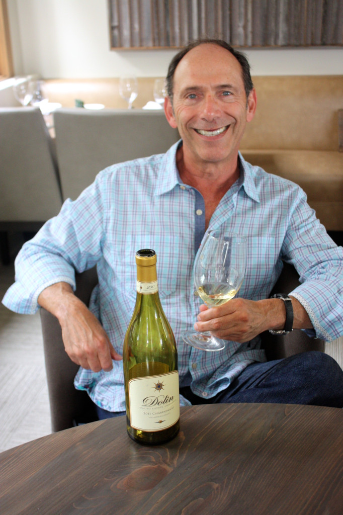 Elliot Dolin with his 2012 Chardonnay