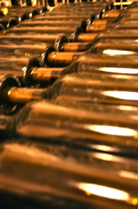 dusty wine bottles